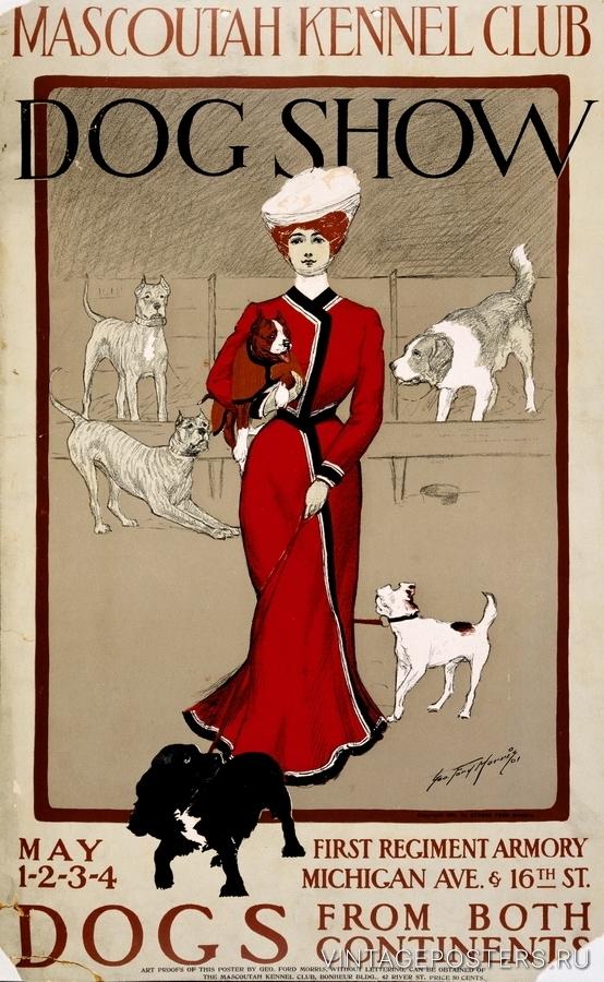 """Купить для интерьера на стену Постер """"Выставка собак"""" Чикаго 1901"""