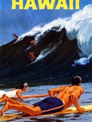 """Купить для интерьера на стену Постер """"Серфинг на Гаваях"""" 1950"""