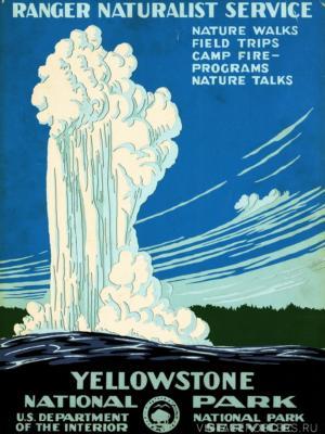 """Купить для интерьера на стену Постер """"Йеллоустонский национальный парк"""" США 1938"""