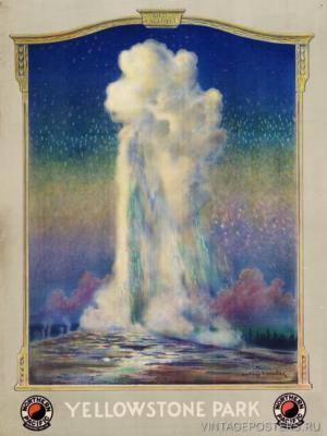 """Купить для интерьера на стену Постер """"Йеллоустонский парк. Гейзер старый верняга"""" США 1930"""