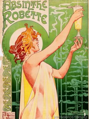 """Купить для интерьера на стену Постер """"Абсент Robette"""" Брюссель 1896"""