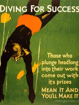 """Купить для интерьера на стену Постер """"Diving for Success"""" Чикаго 1929"""