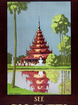 """Купить для интерьера на стену Постер """"Калькутта. Бирманская пагода в Eden Gardens"""" Индия 1930"""