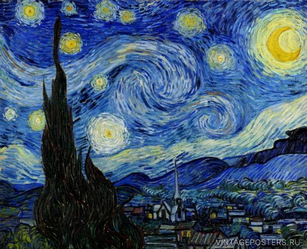 """Купить для интерьера на стену Постер """"Винсент Ван Гог. Звездная Ночь"""" 1889"""