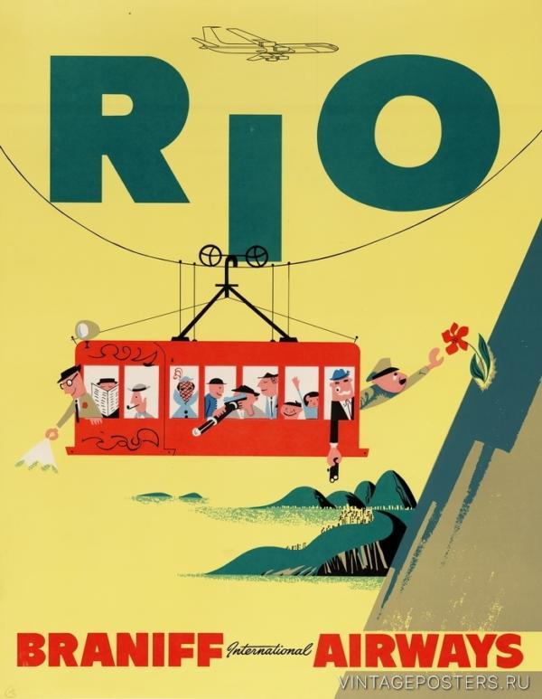 """Купить для интерьера на стену Постер """"Рио"""" Рио-де-Жанейро 1950"""