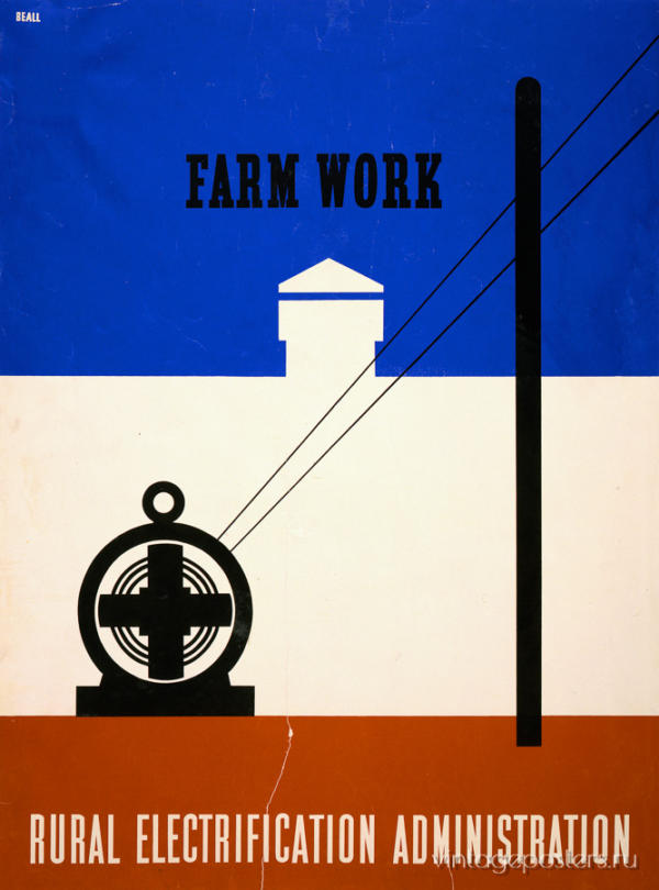 """Купить для интерьера на стену Постер """"Электрификация. Работа на ферме"""" США 1930"""