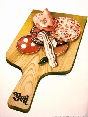 """Купить для интерьера на стену Постер """"Колбасы от Bell"""" Швейцария 1939"""