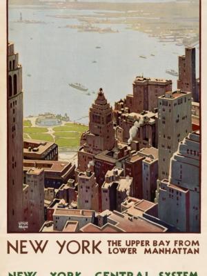 """Купить для интерьера на стену Постер """"Нью-Йорк: залив нижнего Манхэттена"""" США 1920"""