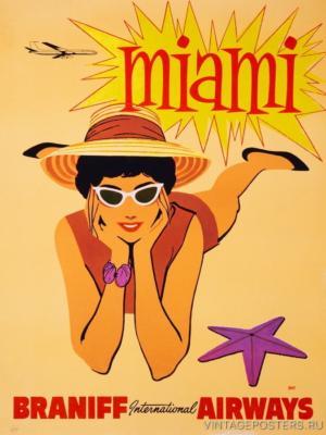 """Купить для интерьера на стену Постер """"Maйами"""" 1960"""