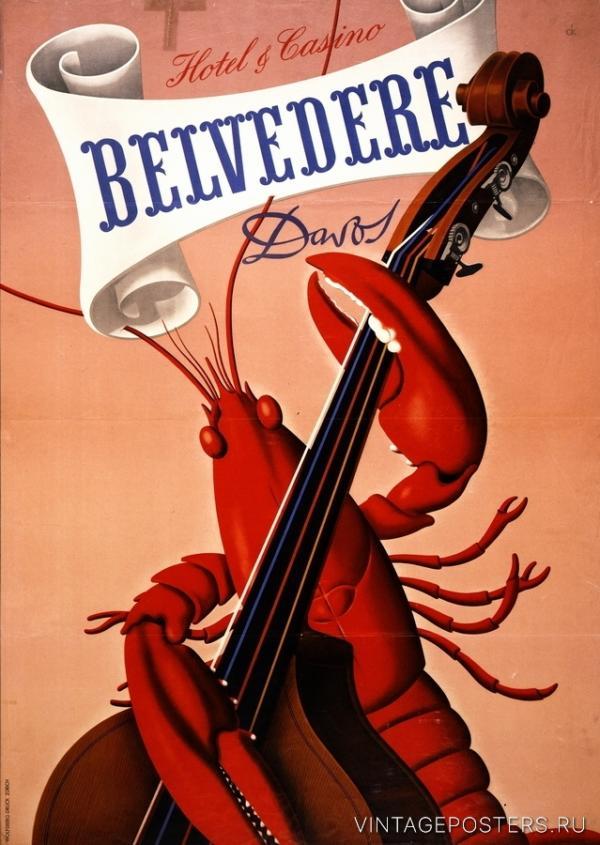 """Купить для интерьера на стену Постер """"Отель-казино Belvedere"""" Давос 1930"""