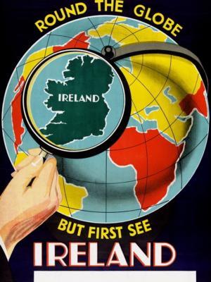 """Купить для интерьера на стену Постер """"Путешествуйте везде, но Ирландия в первую очередь"""" Дублин 1930"""