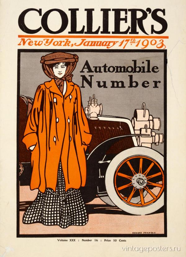 """Купить для интерьера на стену Постер """"Журнал Collier's. Автомобильный номер"""" Нью-Йорк 1903"""