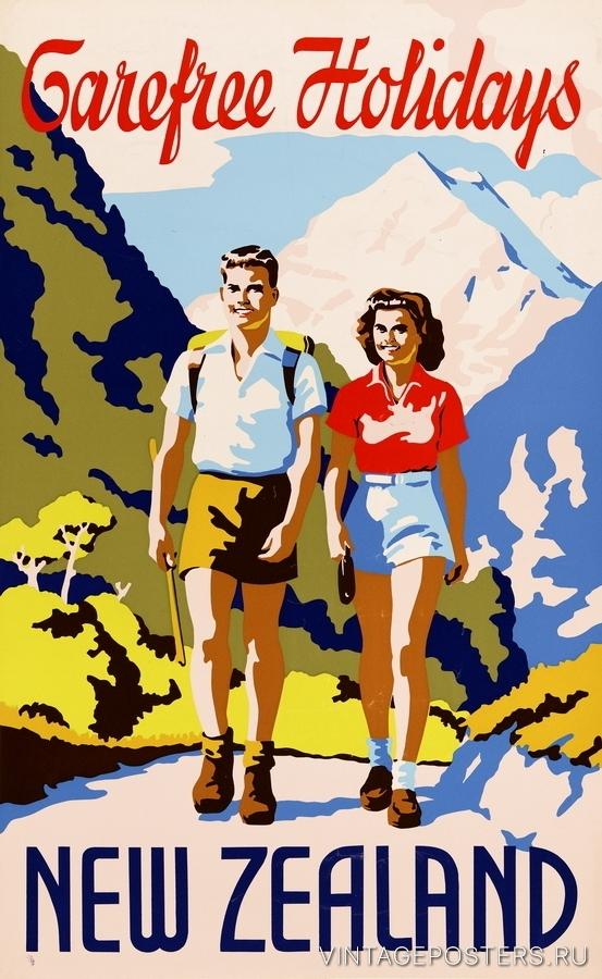 """Купить для интерьера на стену Постер """"Беззаботные каникулы в Новой Зеландии"""" 1930"""