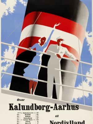 """Купить для интерьера на стену Постер """"Линия Калуннборг-Орхус. Северная Ютландия"""" Дания 1946"""