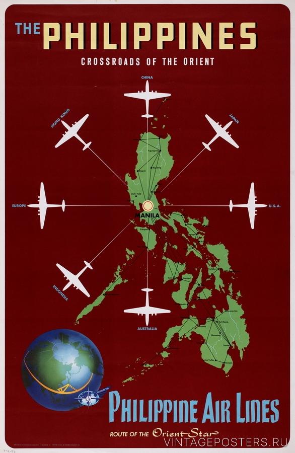 """Купить для интерьера на стену Постер """"Филиппины: перекрестки востока"""" США 1930"""