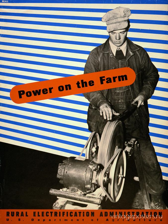 """Купить для интерьера на стену Постер """"Электрификация. Энергия для фермы"""" США 1930"""