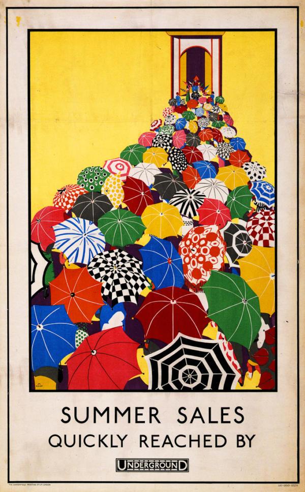 """Купить для интерьера на стену Постер """"Летние распродажи. Добирайтесь на метро быстро"""" Лондон 1925"""