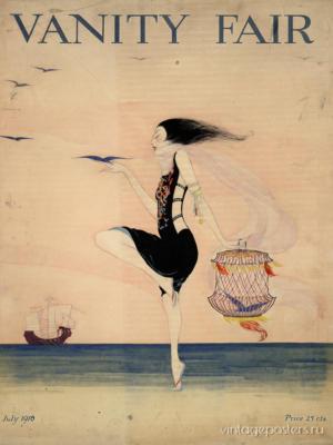 """Купить для интерьера на стену Постер """"Vanity Fair. Женщина танцующая на берегу"""" США 1916"""