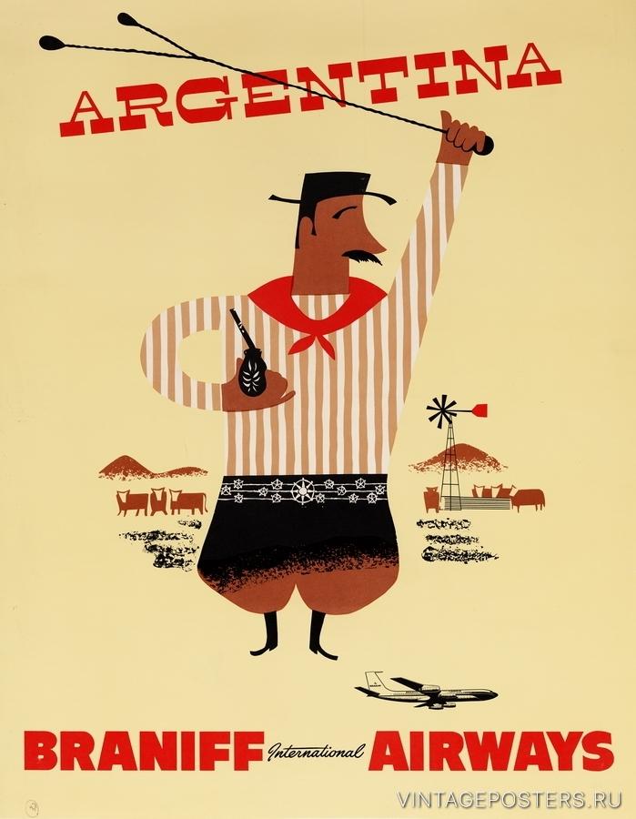 """Купить для интерьера на стену Постер """"Аргентина"""" США 1950"""