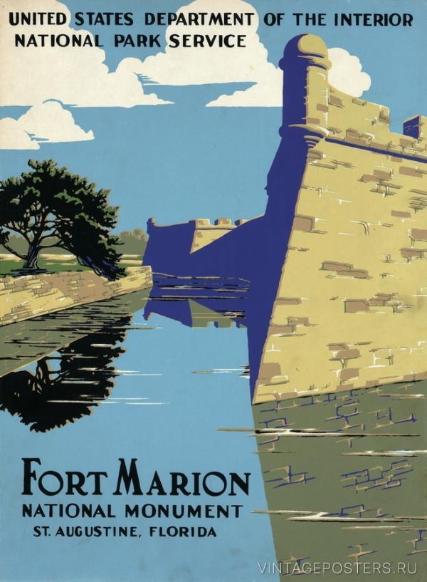 """Купить для интерьера на стену Постер """"Форт Марион. Санкт-Августин, Флорида"""" США 1938"""