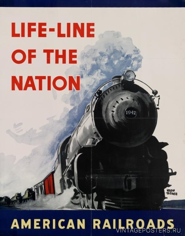 """Купить для интерьера на стену Постер """"Линии жизни нации. Американские железные дороги"""" 1942"""