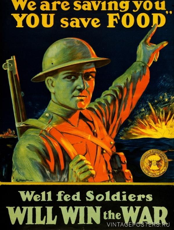 """Купить для интерьера на стену Постер """"Экономьте еду. Помогите солдатам выиграть войну"""" Гамильтон 1914"""