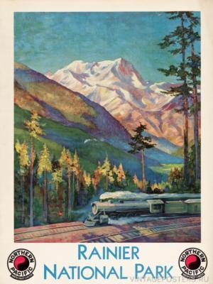 """Купить для интерьера на стену Постер """"Национальный парк Маунт-Рейнир"""" США 1920"""
