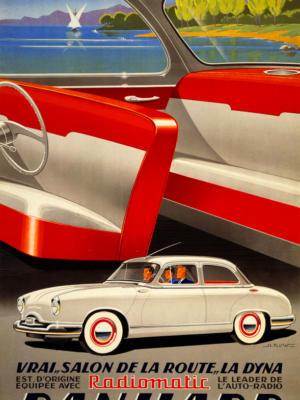 """Купить для интерьера на стену Постер """"Автомобиль Panhard"""" Париж 1954"""