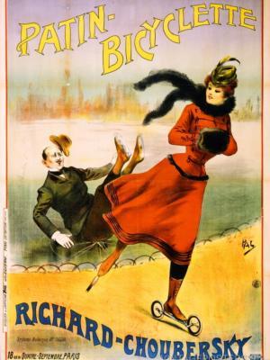 """Купить для интерьера на стену Постер """"Роликовые коньки Patin-bicyclette"""" Париж 1890"""