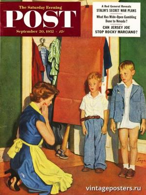 """Купить для интерьера на стену Постер """"Обложка журнала The Saturday Evening Post"""" США сентябрь 1952"""