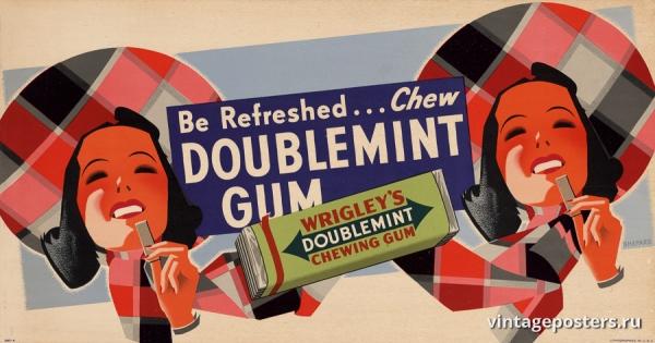"""Купить для интерьера на стену Постер """"Освежись... Жуй Wrigley's Double Mint"""" США 1935"""