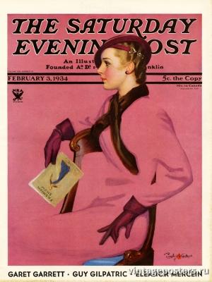 """Купить для интерьера на стену Постер """"Обложка журнала The Saturday Evening Post"""" США февраль 1934"""