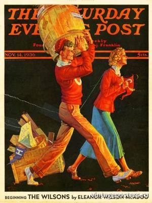 """Купить для интерьера на стену Постер """"Обложка журнала The Saturday Evening Post"""" США ноябрь 1936"""