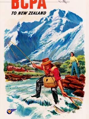 """Купить для интерьера на стену Постер """"Летайте «BCPA» в Новую Зеландию"""" Австралия 1952"""