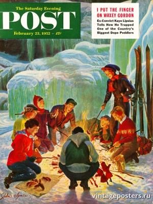 """Купить для интерьера на стену Постер """"Обложка журнала The Saturday Evening Post"""" США февраль 1952"""