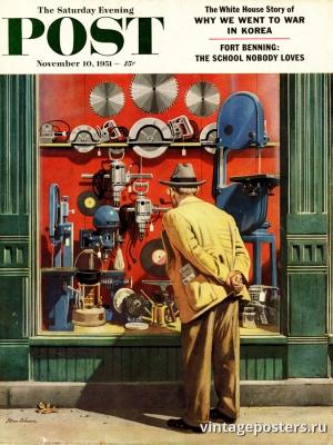 """Купить для интерьера на стену Постер """"Обложка журнала The Saturday Evening Post"""" США ноябрь 1951"""