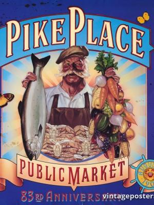 """Купить для интерьера на стену Постер """"83 года рынку Пайк-плейс"""" США 1990"""