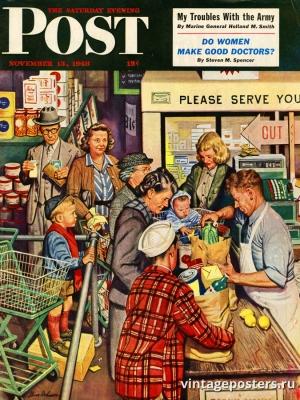 """Купить для интерьера на стену Постер """"Обложка журнала The Saturday Evening Post"""" США ноябрь 1948"""