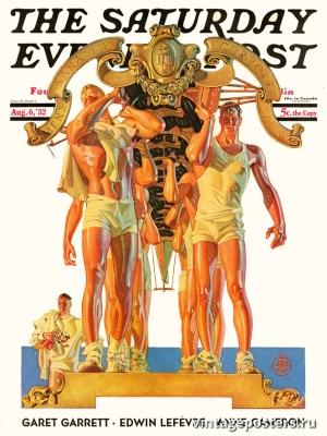 """Купить для интерьера на стену Постер """"Обложка журнала The Saturday Evening Post"""" США август 1932"""