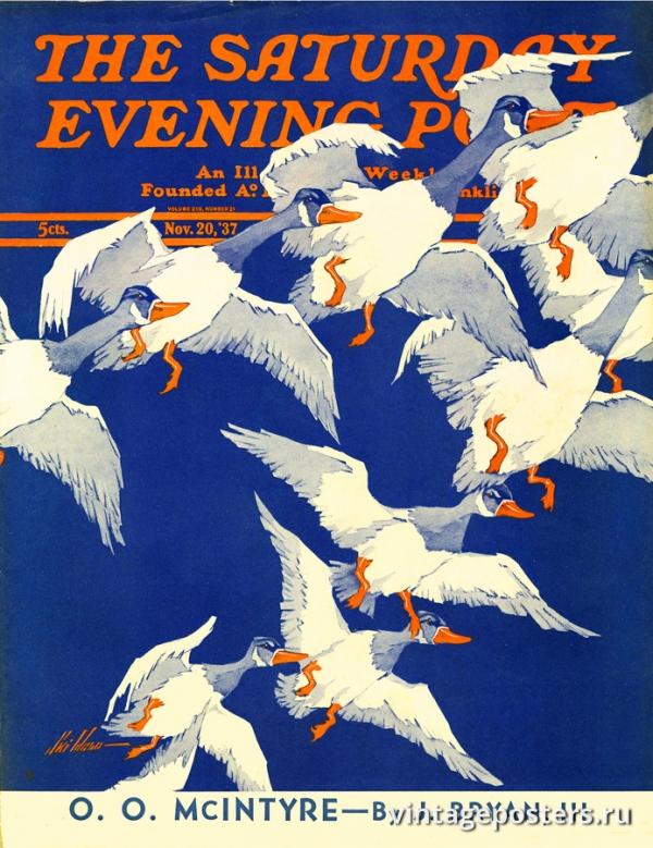 """Купить для интерьера на стену Постер """"Обложка журнала The Saturday Evening Post"""" США ноябрь 1937"""