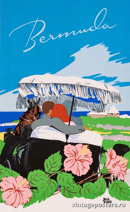 """Купить для интерьера на стену Постер """"Бермудские острова"""" США 1945"""