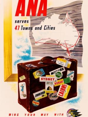 """Купить для интерьера на стену Постер """"Авиакомпания «ANA» летает в 47 городов страны"""" Австралия 1947"""