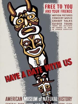 """Купить для интерьера на стену Постер """"Приходите к нам. Американский музей естественной истории"""" США 1941"""