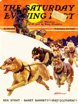 """Купить для интерьера на стену Постер """"Обложка журнала The Saturday Evening Post"""" США февраль 1936"""
