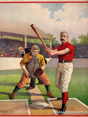 """Купить для интерьера на стену Постер """"Бейсбол"""" США 1895"""