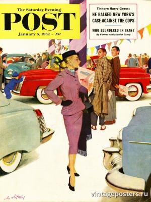 """Купить для интерьера на стену Постер """"Обложка журнала The Saturday Evening Post"""" США январь 1952"""
