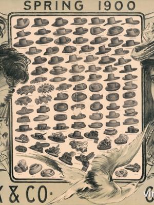 """Купить для интерьера на стену Постер """"Дамские шляпы. Весна 1900"""" США 1900"""
