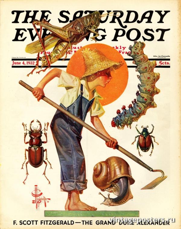 """Купить для интерьера на стену Постер """"Обложка журнала The Saturday Evening Post"""" США июнь 1932"""