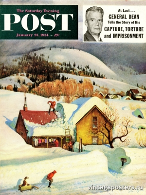 """Купить для интерьера на стену Постер """"Обложка журнала The Saturday Evening Post"""" США январь 1954"""