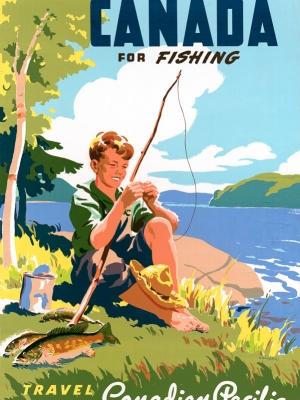 """Купить для интерьера на стену Постер """"Рыбалка в Канаде"""" Канада 1947"""
